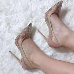 Crystal mesh high heel
